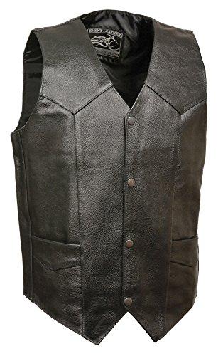 Event Biker Leather EL5310 Men's Promo Basic Leather Vest (Black, XX-Large)