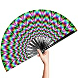 OMyTea Large Rave Clack Folding Hand Fan for Men/Women - Chinese Japanese Bamboo Handheld Fan - for EDM, Music Festival, Club, Event, Party, Dance, Performance, Decoration, Gift (Trippy Waves)