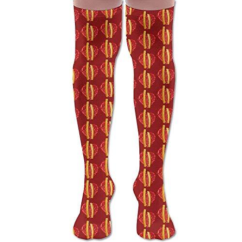 winterwang Hombres Mujeres Potato Ketchup Heart Premium Calcetines hasta la rodilla Calcetines deportivos de ftbol Crew Tube Medias Deportes al aire libre