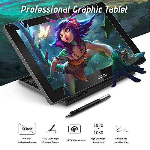 Entweg BT-16HD Portátil 15.6 pulgadas H-IPS Pantalla gráfica LCD Tableta de dibujo 8192 Nivel de presión Tecnología pasiva Tableta de dibujo de bajo consumo alimentada por USB con lápiz óptico