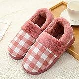 CAI Zapatillas de casa Casual, bolso a cuadros con cuero rojo Zapatillas de algodón para mujer al aire libre Zapatillas de algodón de felpa Zapatillas de inte