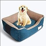 Hundebett Deluxe Weiche Waschbare Korb Bett Kissen, Katzen Bett-Haustier Bett Extrem Weich Haustier Bettsofa, für Kleine, Mittlere Hunde Oder Katzen (Color : Blue, Size : L(75×60×25cm))