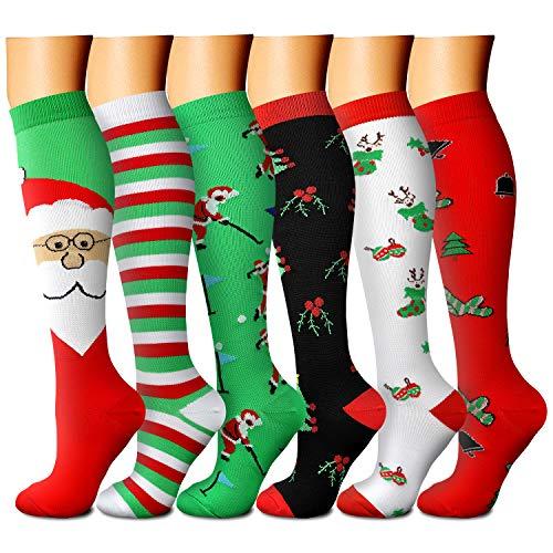 Christmas Compression Socks for Women & Men 15-20 mmHg, Best for Running, Athletic, Edema, Travel (Large/X-Large, 09 Red/Green/Green/Green/White/Black)