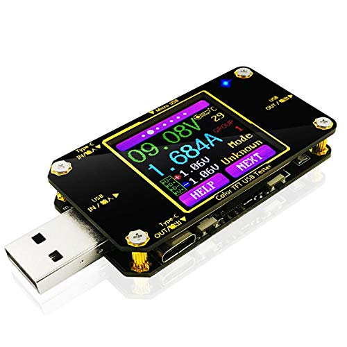 MakerHawk USB Power Meter Tester, Bluetooth USB Tester, Type-C Current and Voltage Monitor, USB Safety Tester, PD Battery Capacity Meter, Digital Color LCD Display Multimeter (Bluetooth)