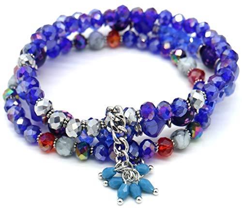 Dielay Dames Armband 3 Lagen Setje Armbanden Facet Geslepen Glaskralen Blauw