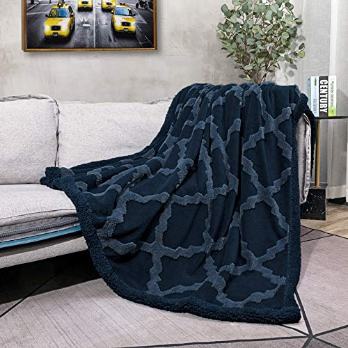 """CAMPIR Sherpa Throw Blankets for Bed,Super Soft Warm Dual Sided Blanket,Machine Washable Plush Fleece Blankets,Fuzzy Blanket for Sofa Couch Bed(Dark Blue, 51""""x63"""")"""