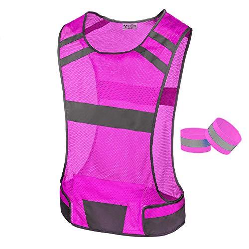 247 Viz Reflective Running Vest Safety Gear - High Visibility Vest for Women, Stay Visible & Safe, Light/Comfy Running & Cycling Vest - Large Pocket, Adjustable Waist & 2 Reflective Bands (Pink/Med)