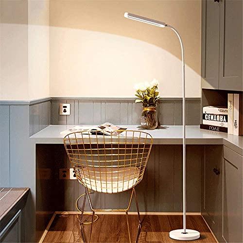 RenXin LED Regulable Lámpara de Pie Salon, Luz de Pie con Mando a Distancia Luz de Lectura con Interruptor y Enchufe, 360° Cuello Flexible y Cuidado de Ojos, 10W Dormitorio Lámpara de Suelo,Blanco