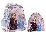 Disney Eiskönigin Frozen Anna ELSA Schulranzen Mädchen Tornister Schulrucksack Schultasche Set 2 TLG. für Grundschule super leicht/inkl. Sportbeutel