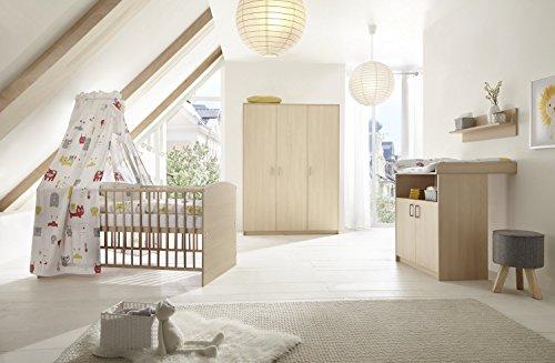 Schardt 11 523 04 00 Chambre d'enfant 3 pièces comprenant, Combi Lit Bébé Avec Draps, commode et armoire 3 portes, 70 x 140 cm, hêtre classiques