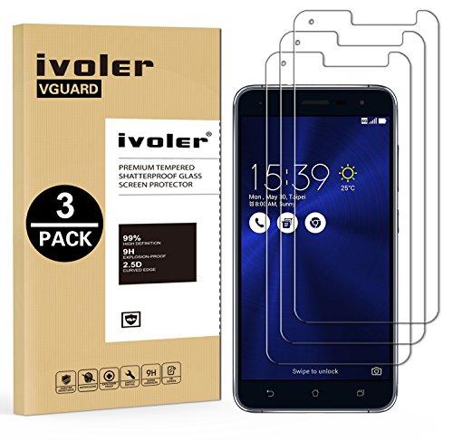 """iVoler [3 Pack] Pellicola Vetro Temperato per ASUS Zenfone 3 ZE520KL 5.2"""" [Garanzia a Vita], Pellicola Protettiva, Protezione per Schermo"""