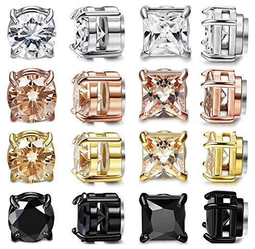 CASSIECA 8 Pairs Stainless Steel Magnetic Stud Earring for Men Women CZ Magnet Non Pierced Clip On Earrings Set