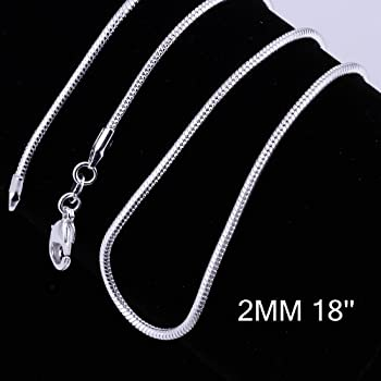 Yuren 3 Pieces 925 Sterling Silver 2mm Snake Chain Necklace Jewelry Jewelry for Men and Women 16-24 Inch   18 inch