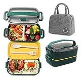 IYOYI Lunch Box Kit – boîte à déjeuner + sac isotherme porte-déjeuner, 1600 ml,bento lunch box, en polypropylène, 2 couches pour pique-nique, école, bureau, adultes, enfants, micro-ondes sûr (Vert)