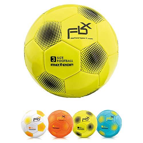 meteor Pallone da Calcio Cucito per Bambini Adolescenti e Adulti 5 4 3 1 Dimensioni e 4 Colori Perfetto per Allenamento, Giochi Ricreativi (#4, Giallo)