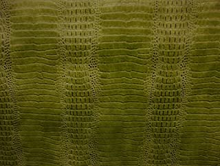 "luvfabrics Vinyl Faux Fake Leather Crocodile Nile Lime Embossed Faux Upholstery Fabric Sold Per Yard 55"" Wide shipped roll"