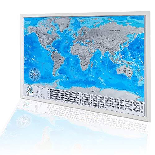 Incorniciati Mappa del mondo da grattare, Regalo da viaggio, Personalizzata Mappa con cornice bianca