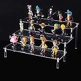Exhibición de escalera de acrílico de 3 niveles, colección de organizador de estante de escalera transparente Decoración para exhibición de figuras, esmalte de uñas, muñeca, cosméticos (30x21x14.5cm)