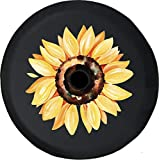 JL Spare Tire Cover Watercolor Yellow Sunflower Summer 4x4 JL Tire Cover with Backup Camera Hole BUC (Fits: Jeep JL Accessories) Black Size 32 Inch