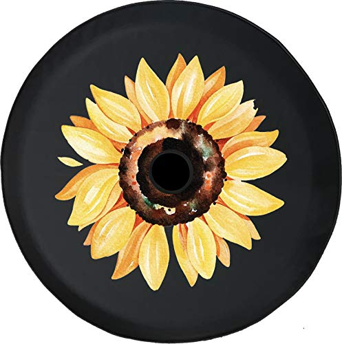 JL Spare Tire Cover Watercolor Yellow Sunflower Summer 4x4 JL Tire Cover with Backup Camera Hole BUC (Fits: JL Accessories) Black Size 32 Inch