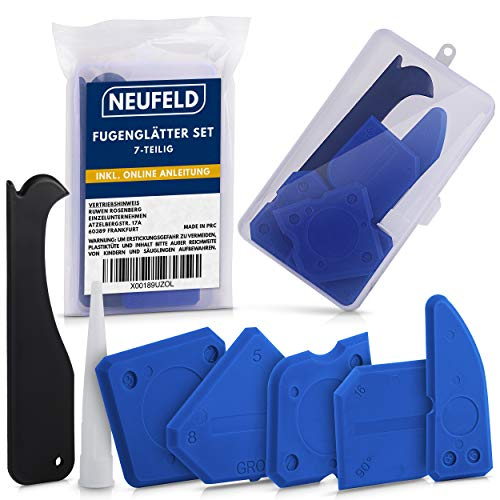 NEUFELD® 7-teiliges Fugenglätter Set [inkl. Box & Anleitung] I Silikon Abzieher Fugenwerkzeug I Silikonabzieher, Silikonfugen Werkzeug
