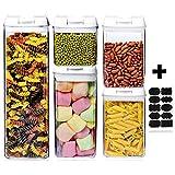 Bocaux de Conservation Plastique Alimentaire Hermétique 5 Pièces/Etiquettes Récipients Hermétiques à Nourriture Ensemble de Boîtes des Aliments Sèche sans BPA Blanc