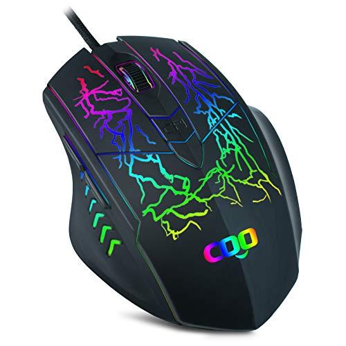 Optische USB-Maus mit Kabel für Büro und Zuhause, 6400 dpi, 6 Tasten, Premium und tragbar, kompatibel mit Windows-PC, Desktop, Notebook (schwarz)