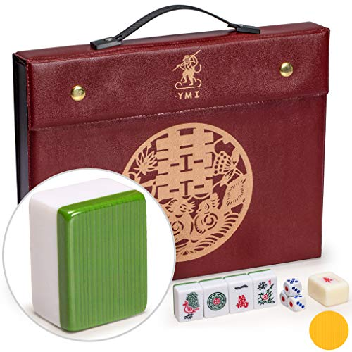 Yellow Mountain Imports Professional Chinese Mahjong Game Set - Double Happiness (Green) - with 146 Medium Size Tiles, 3...