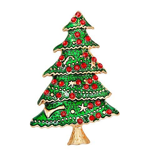 Yazilind Weihnachtsbaum Design Kristall Strass Legierung Broschen Pins Weihnachtsfeier Vintage Bankett für Frauen Damen Geschenk