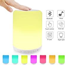 Bluetooth Speaker with Night Light - Touch LED Bedside Lamp Table Light HiFi Bluetooth Speaker for Bedroom Rechargeable Battery, RGB and & White Light Dimmable, FM Radio, USB, TF Card Slot, AUX-In, Hand-free Supported