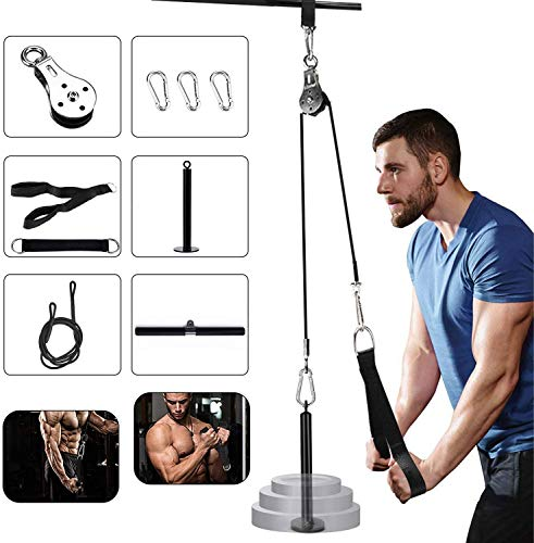 WNOEY Upgrade Fitness LAT and Lift Pulley System, DIY Pulley Cable Machine Attachment System Loading Pin Lifting Arm Biceps Triceps Hand Strength Gym Machine Equipment
