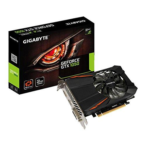 Gigabyte NVIDIA GeForce GTX 1050D52G 2GB di memoria GDDR5128Bit scheda grafica PCI Express 3HDMI/DP/DVI, GV-N1050D5-2GD, colore: nero