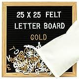 Gadgy  Letter Board Holz und Filz 25x25 cm | Buchstaben Tafel Buchstabenbrett Rillentafel | Mit 340 Weiße und Gold Farbige Buchstaben & Zahlen, Ständer und Beutel | Retro Felt