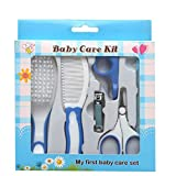 Koochie-Koo Baby Nail Hair Daily Care Kit Newborn Kids Grooming Brush and Manicure Set, Newborn Grooming Kit, Baby Care - 6 Pcs (Blue)