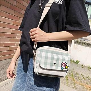 Fashion Single-Shoulder Bags Fresh Simple Lattice Pattern Cute Lollipop Decoration Canvas Shoulder Bag Casual Ladies Messenger Bag (Black) (Color : Green)