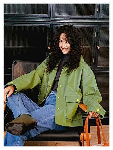 Chaqueta cálida y cómoda fácilmente. Chaqueta de cuero para mujer de alta calle verde Chaqueta de cuero sintética verde con cinturón punk chaquetas negras damas abrigos básicos sueltos Outwear