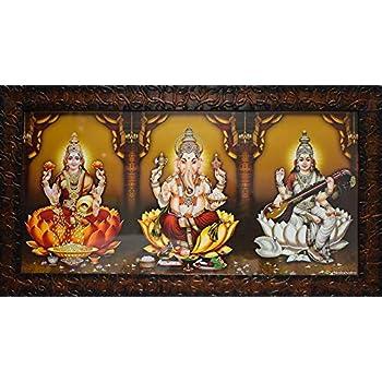 Puja N Pujari God Photo Frames Lakshmi, Ganesh, Saraswati Photo Frame for Wall Hanging with Good Finishing Fiber Frame Design (20 Inch * 11 Inch)
