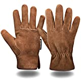 Leather Safety Work Gloves Gardening Carpenter Thorn Proof Truck Driving for Mens and Womens Waterproof heavy duty(Brown M)