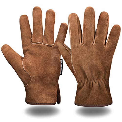 Leather Safety Work Gloves Gardening Carpenter Thorn Proof Truck Driving for Mens and Womens Waterproof heavy duty(Brown L)