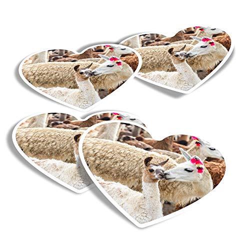 Pegatinas de vinilo con forma de corazón (juego de 4) – Llama Family Mum & Baby Alpaca Herd Calcomanías divertidas para portátiles, tabletas, equipaje, reserva de chatarra, frigoríficos #16774