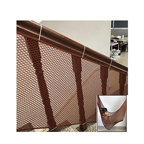 LJIANW Red Decorativa Red De Seguridad Infantil, Guardias De Barandilla por Escaleras Barandillas Balcón, Durable Mascota Malla De Seguridad Anti-caída Red Protectora (Color : Brown, Size : 0.9x6m)