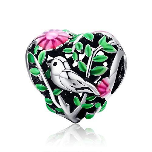 pandora 925 plata esterlina DIY colgante de la colección de la joyería pájaro en el bosque encanto granos ajuste mujeres s pulsera collares joyería c