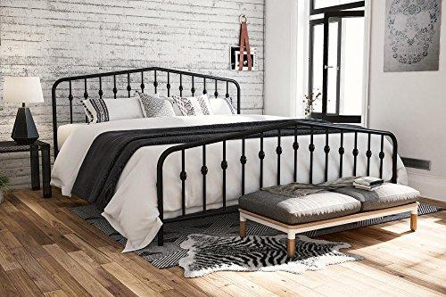 Novogratz Bushwick Metal Bed with Headboard and Footboard | Modern Design | King Size - Black