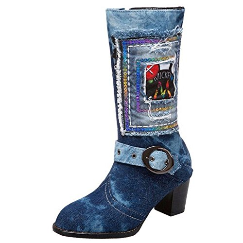 Zanpa Mode Damen Mit Stiefel Jeans Dress Stiefel Zipper LanSe Gr 37