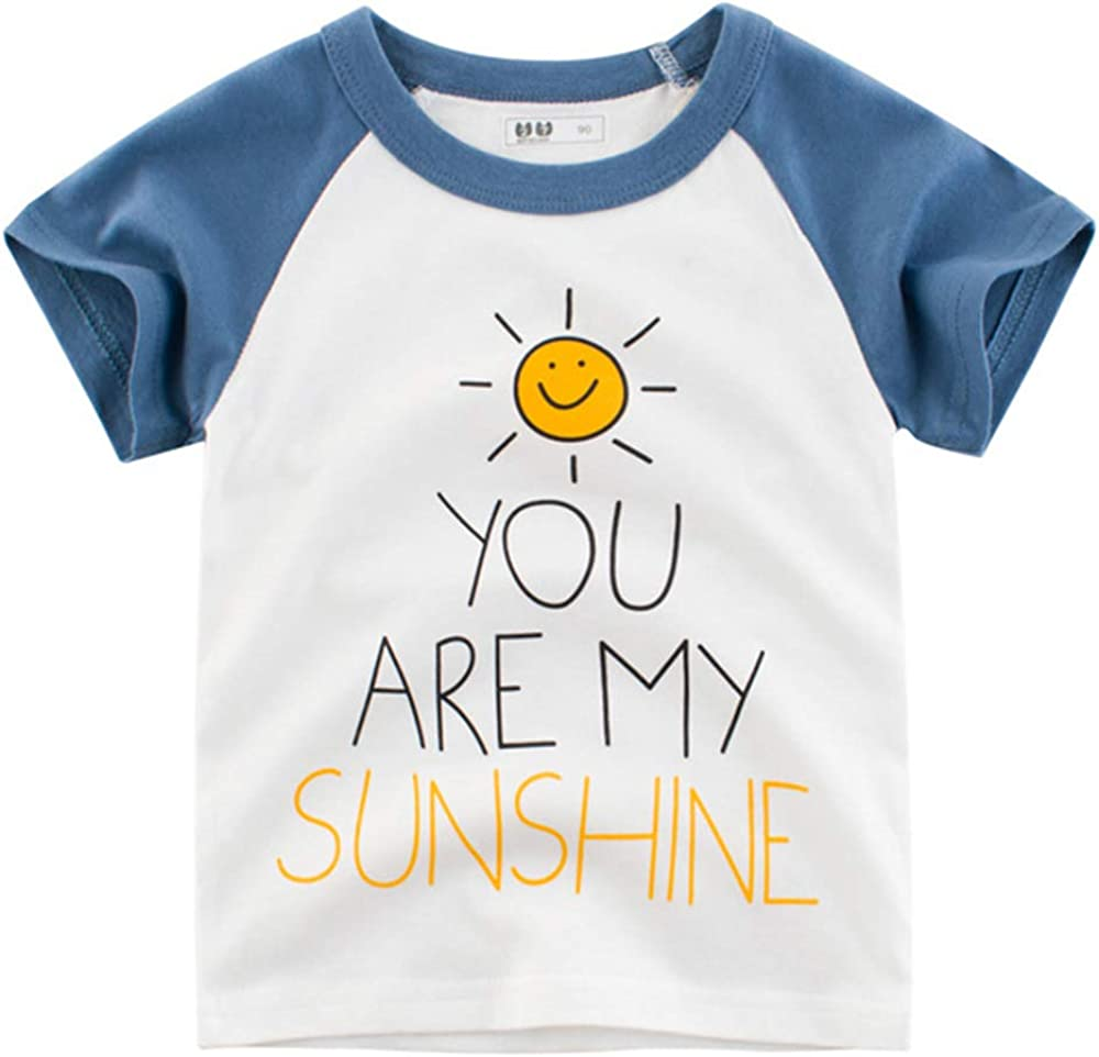 JiaYou 2-10 Years Boy Color Block Character Printed Short Sleeve Crewneck Pull On Tops Tees T Shirt