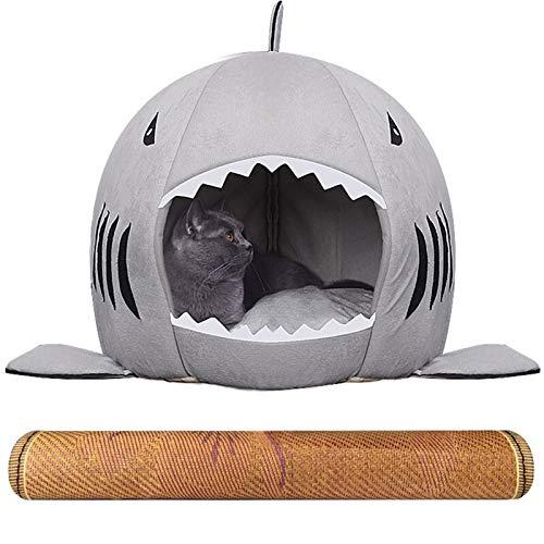 ZXJTX Mascota Waterloo Lavable tiburón Mascotas Casa Cueva Cama for Cachorros de Gato Pequeña Mediana Perro con cojín extraíble y Fondo Impermeable Suministros de Mascotas (Size : Large)