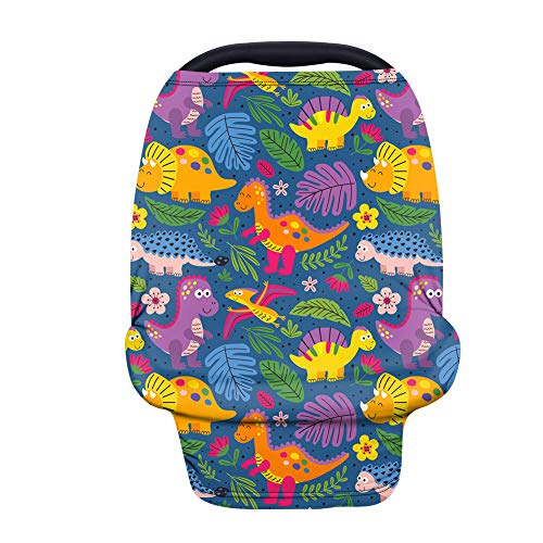 JoyLamoria Infant Car Seat Cover, Cartoon Dinosaur Pattern Babies Carrier Cover Breastfeeding Covers, Keep Your Baby Cozy and Warm, Soft Breathable Baby Stroller Covers