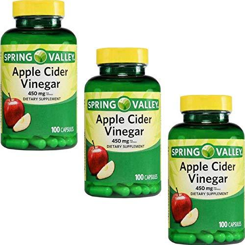 Spring Valley Apple Cider Vinegar 450 mg Dietary Supplement 100capsules (3 Pack)