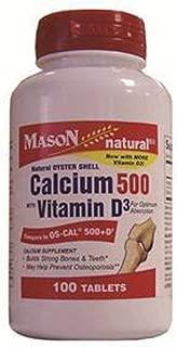 Mason Natural Oyster Shell Calcium 500 Mg Tablets with Vitamin D3 - 100 Ea