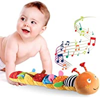 AJES Musical Caterpillar Multicolor Infant Toy with Ruler Design, Bells and Rattle